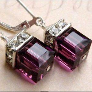 Purple Swarovski Crystal Cube Earrings